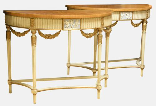 Decorative Pair of French Console Tables c.1920 (1 of 1)