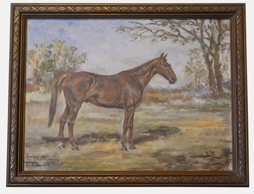 Oil on Canvas Equestrian Painting 'Pilot' (1 of 1)