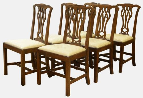 Set of 6 Country Chippendale Style Dining Chairs c.1880 (1 of 1)