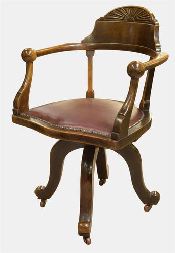American Mahogany Swivel Desk Chair c.1890 (1 of 1)