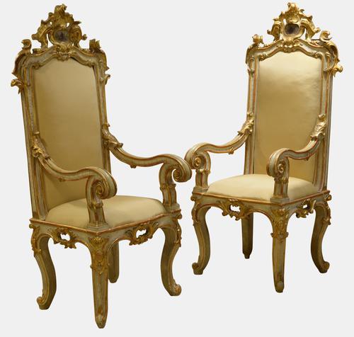 Pair of 18th Century Italian Throne Chairs (1 of 1)