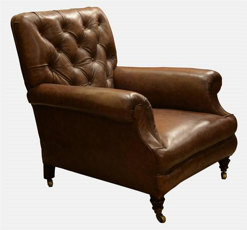 Leather Library Chair c.1860 (1 of 1)