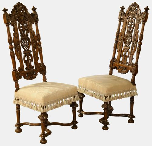 Pair of Caned Walnut High Back Chairs c.1890 (1 of 1)