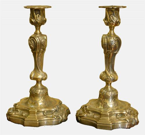 Pair of French Rococo Brass Candlesticks c.1820 (1 of 1)