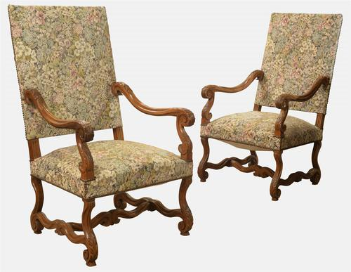 Pair of Walnut Louis XIII Style French Armchairs c.1900 (1 of 1)