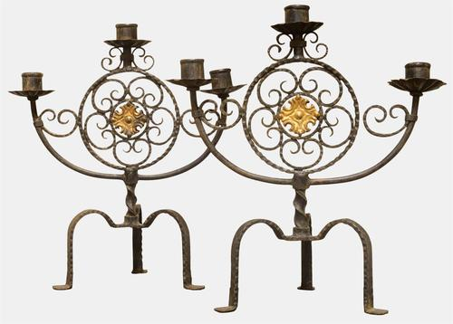 Pair of Wrought Iron Candelabra c.1910 (1 of 1)
