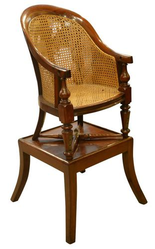 William IV Childs Mahogany Bergere High Chair (1 of 5)