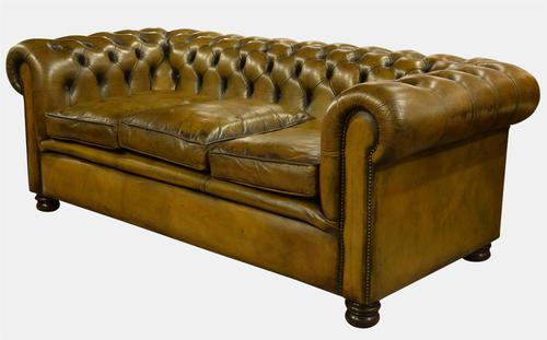 Green Leather Chesterfield Sofa (1 of 1)