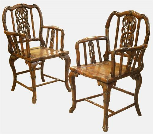 Pair of Chinese Faux Bamboo Rosewood Open Armchairs c.1890 (1 of 1)