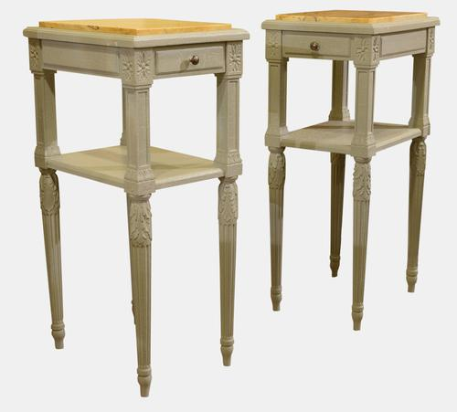 Pair of French Louis XVI Style Painted Nightstands c.1900 (1 of 1)