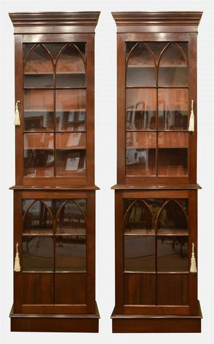 Pair of Gothic Style Mahogany Bookcases c.1830 (1 of 1)