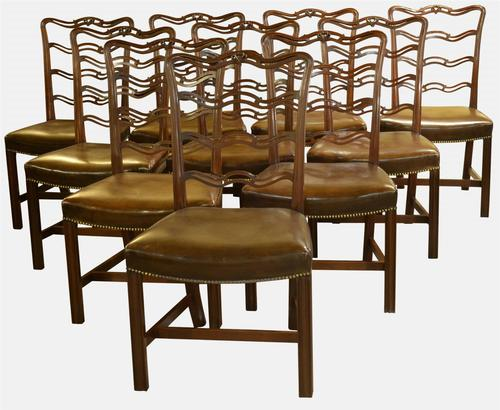 Set of 10 Mahogany Chippendale Style Dining Chairs c.1920 (1 of 1)