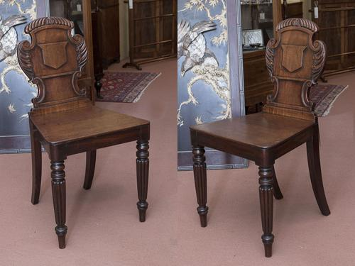 Pair of Regency Period Mahogany Hall Chairs (1 of 4)