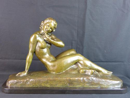 Bronze Art Deco Reclining Nude Sculpture (1 of 7)