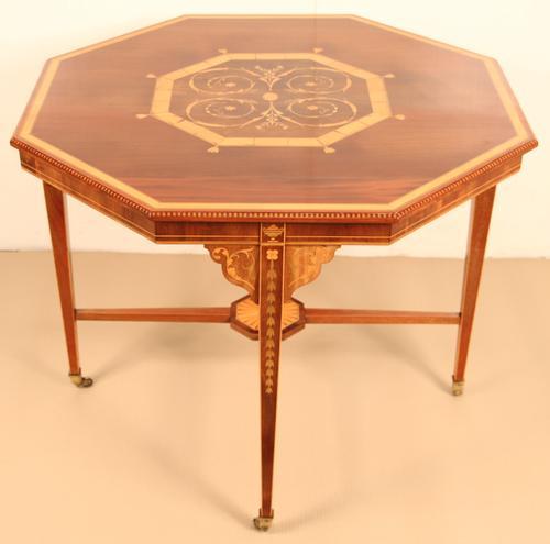 Inlaid Mahogany Octagonal Centre Table c.1901 (1 of 11)