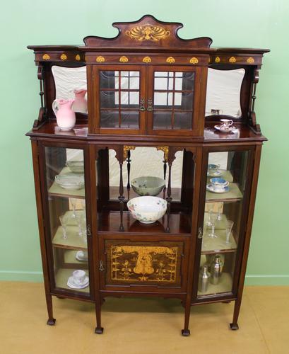 Inlaid Mahogany Art Nouveau Display Cabinet (1 of 15)