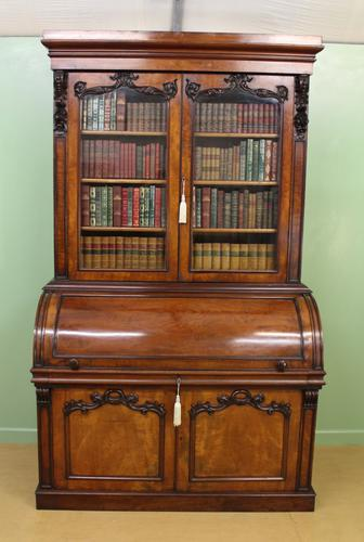 Large Victorian Mahogany Cylinder Bureau Bookcase (1 of 21)