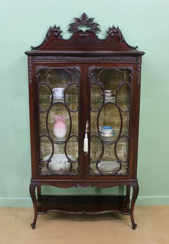 Maple & Co Carved Mahogany Display Cabinet (1 of 13)