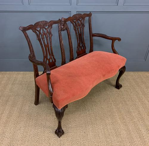 Chippendale Design Mahogany Settee Bench c.1900 (1 of 12)