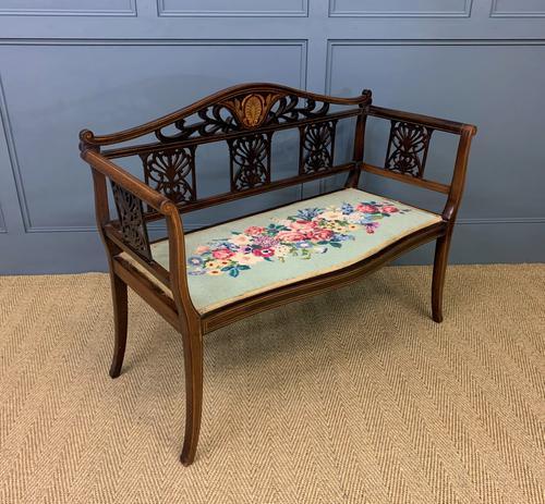 Edwardian Inlaid Mahogany Bench (1 of 10)