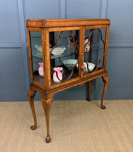 Queen Anne Style Burr Walnut Display Cabinet c.1920 (1 of 14)