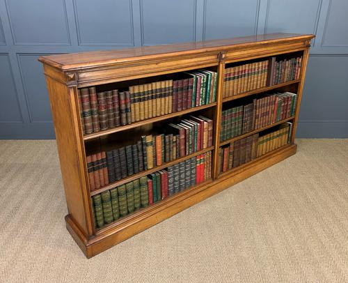 Large Victorian Golden Oak Open Bookcase (1 of 11)