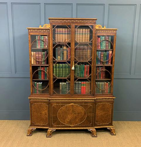 Waring & Gillow Burr Walnut Breakfront Bookcase (1 of 19)