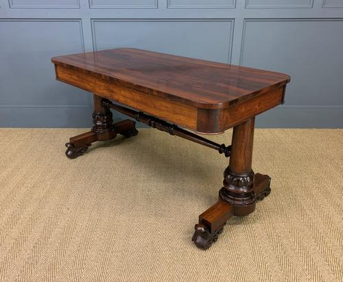 William IV Rosewood Library Stretcher Table (1 of 18)