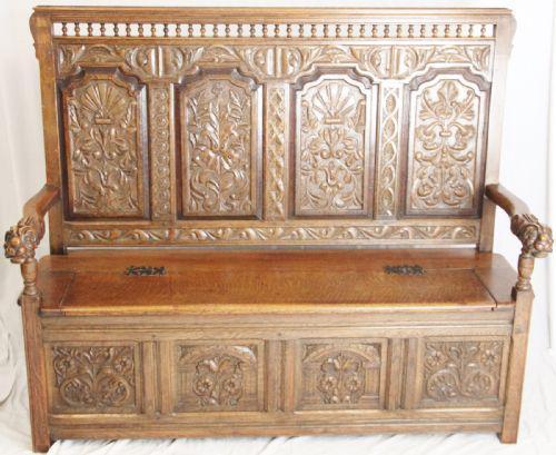 Large Carved Oak Bench c.1880 (1 of 1)