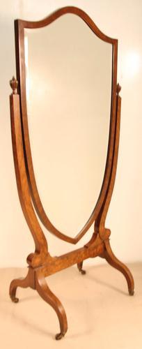 Excellent Walnut Cheval Mirror (1 of 1)