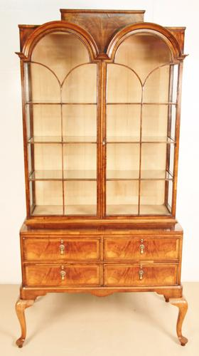 Queen Anne Style Burr Walnut Display Cabinet c.1900 (1 of 1)