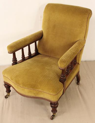 Victorian Walnut Upholstered Easy Chair c.1870 (1 of 1)