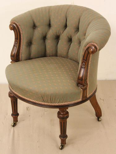 Victorian Walnut Upholstered Tub Chair (1 of 1)