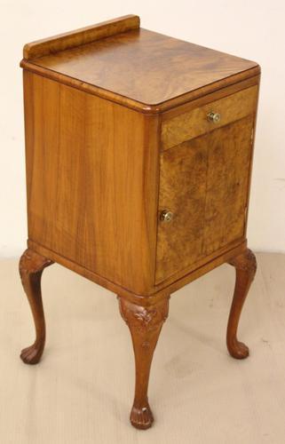 Burr Walnut Bedside Cupboard (1 of 1)