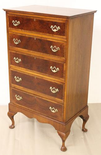Tall Burr Walnut Chest of Drawers (1 of 1)