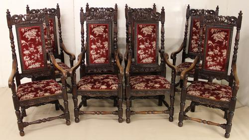 Set of 8 Victorian Carved Oak Armchairs c.1880 (1 of 1)