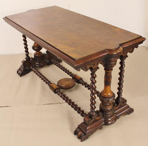 Victorian Burr Walnut Library Table (1 of 1)