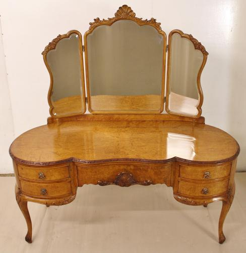 Burr Walnut Kidney Shaped Dressing Table c.1920 (1 of 1)