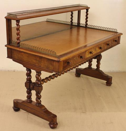 Early Victorian Burr Walnut Writing Table (1 of 1)