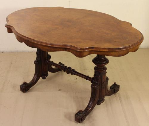 Victorian Burr Walnut Stretcher Table (1 of 1)