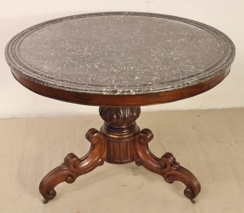 Marble Topped Mahogany Gueridon Centre Table c.1850 (1 of 1)