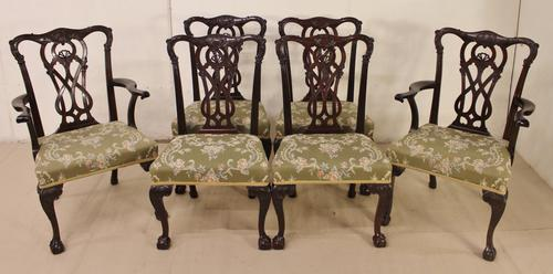 Set of 6 Mahogany Chippendale Style Dining Chairs (1 of 1)