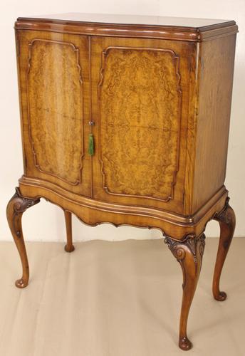 Serpentine Burr Walnut Cabinet on Stand c.1900 (1 of 1)