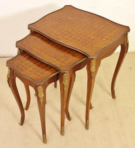French Kingwood Parquetry Nest of Tables (1 of 1)