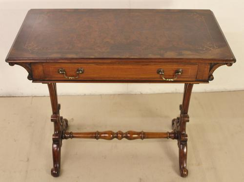 Victorian Inlaid Burr Walnut Side Table (1 of 1)