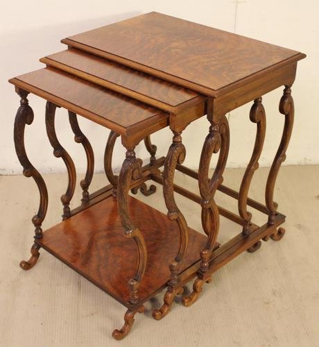 Burr Walnut Nest of Tables c.1900 (1 of 1)