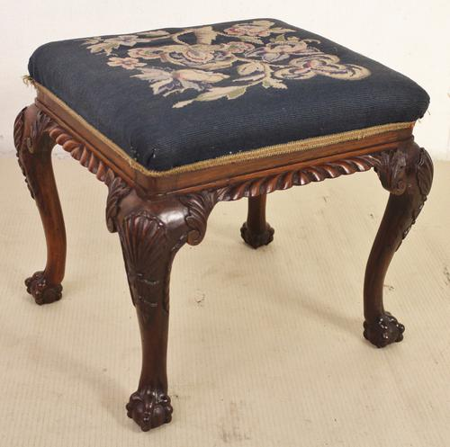 Victorian Rosewood Upholstered Stool (1 of 1)