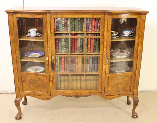 Burr Walnut Serpentine Side Cabinet Bookcase (1 of 1)