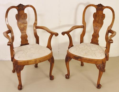 Pair of Burr Walnut Armchairs c.1910 (1 of 1)