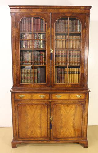 Burr Walnut Library Bookcase c.1890 (1 of 1)